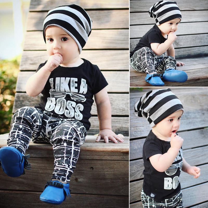 LIKE A BOSS T-shirt / kids t-shirt and pant set / INS design /black t-shirt and geometry print leggings