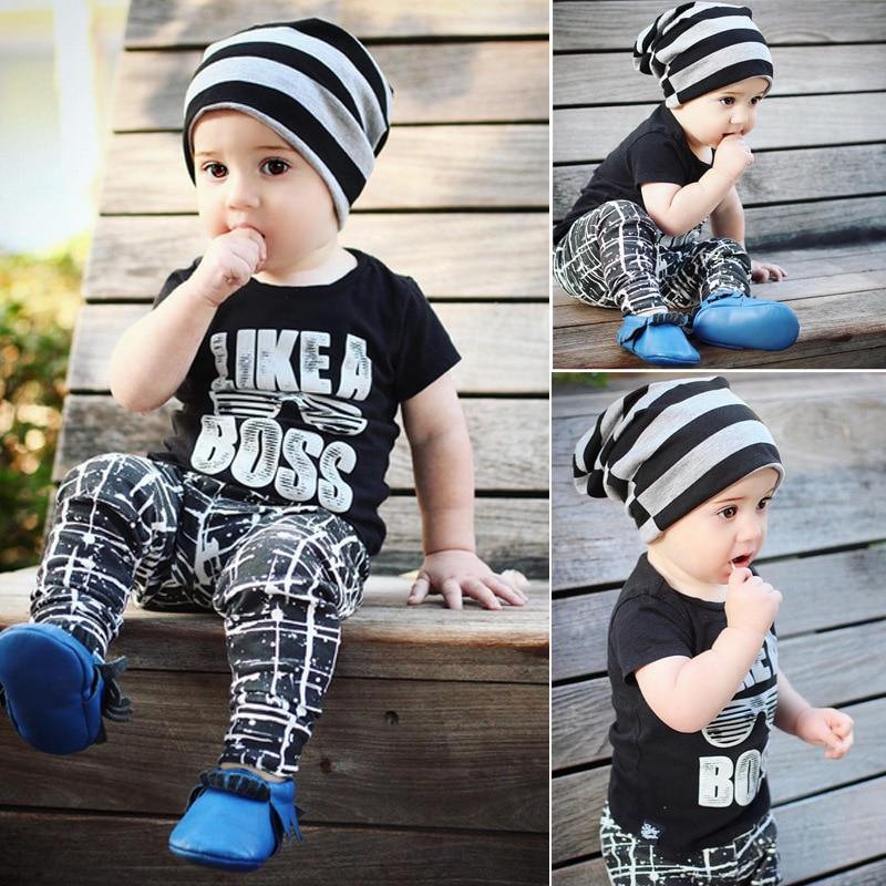 LIKE A BOSS T-shirt / kids t-shirt and pant set / INS design /black t-shirt and geometry print leggings