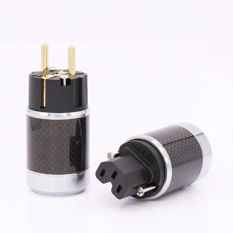 Free shipping One pair Gold Carbon EU AC Power Plug FI-50M&FI-50 Same As Furutech Design furutech fi e30 ncf r