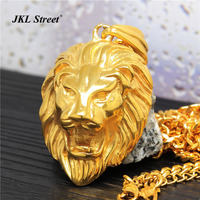 Stainless Steel 24K Gold Plated Lion Head Pendant With 27 5 Cuban Chain Hip Hop Golden