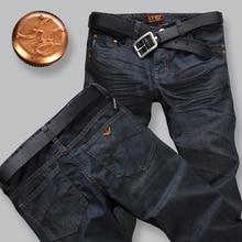 Мужские джинсы новый 2016 Моды для мужчин джинсы штаны Зимние мужские джинсовые брюки Тонкий Прямой джинсы брюки