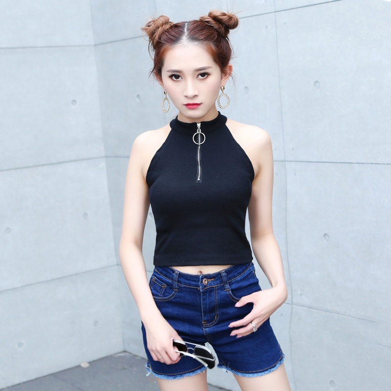 Women Sexy Sequined Zipper Halter Short Tees Off Shoulder Crop Top Summer Tops For Women Black White Color Basic Tops in Tank Tops from Women 39 s Clothing