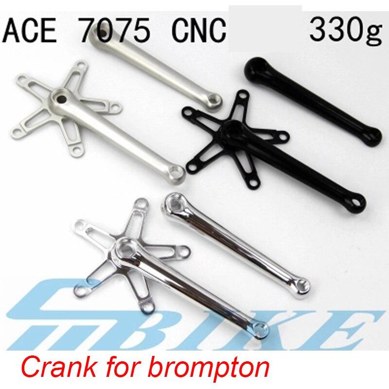 цена на Bicycle Superlight Crankset 330g for Road Brompton Bike 170mm Aluminum Alloy 7075 Square Hole Waterproof