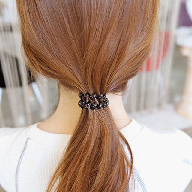 1 ud./5 uds señora nueva cuerdas de plástico súper fino niñas de goma pelo banda mujeres teléfono alambre lazos de pelo colorido scrunchie