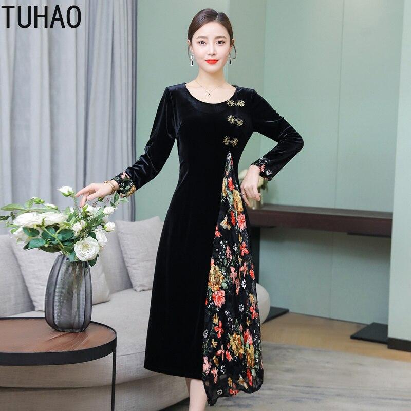 3aee619753 D'impression Piste Style Grande Élégant Robe Pour Floral Parti 4xl Chinois  2019 Taille Noir Velours ...