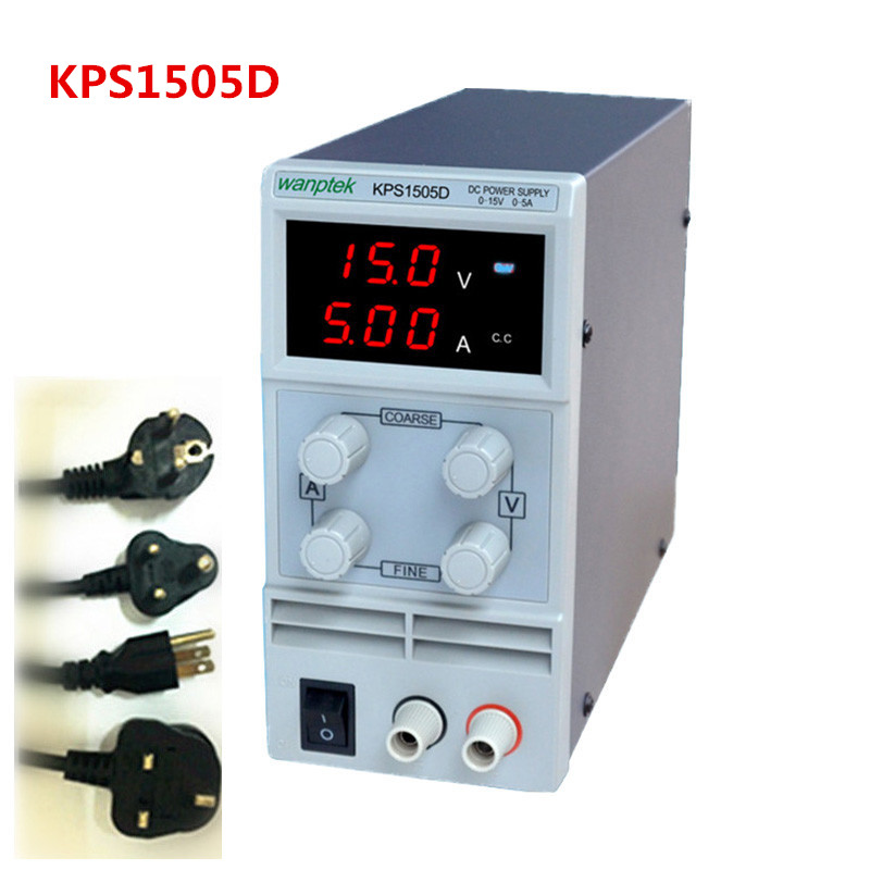 KPS1505D Adjustable High precision LED display switch DC Power Supply protection function 15V5A 110V-230V switch power high performance 110v 230v 0 1v 0 001a led display 4 digits switch dc power supply universal probe alligator clip