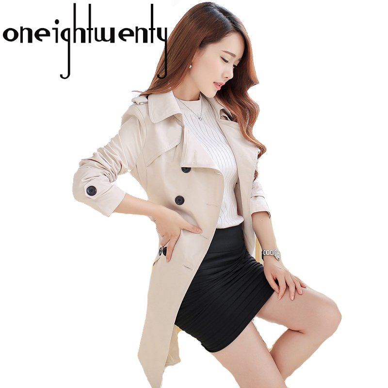 New Fashion Double Breasted Mid-long   Trench   Coat Women Khaki Slim Belt Cloak Windbreaker Female Plus size 5XL Outwear Tops 0.75