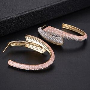 Image 5 - GODKI Luxe Shining Big Hoop Earring Voor Vrouwen Wedding Populaire 3 Tone Geometry Volledige Mirco Cubic Zirkoon Nigeriaanse Oorringen