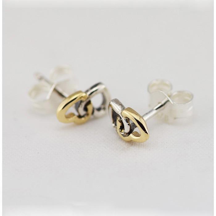Compatible avec les bijoux européens entrelacé coeurs boucles d'oreilles avec 925 boucles d'oreilles en argent Sterling pour les femmes bricolage faisant