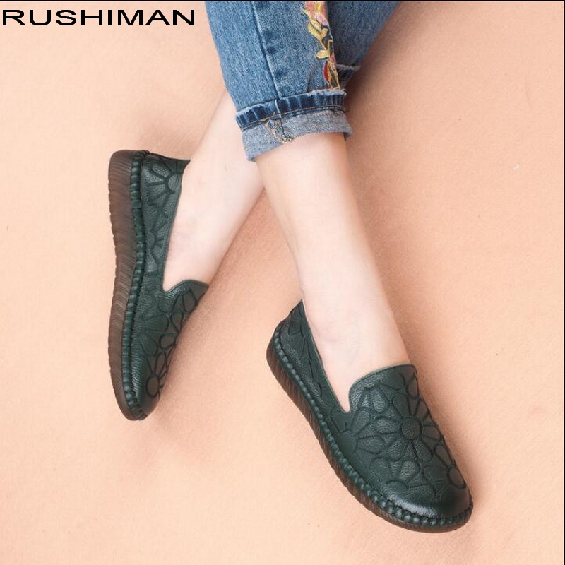 RUSHIMAN Women Loafers Genuine Leather Flats Shoes Round Toe Ladies casual Shoes Comfortable Soft Shoes 2016 mother shoes genuine leather loafers woman solid color soft comfortable ballet flats flexible round toe ol lady work shoes