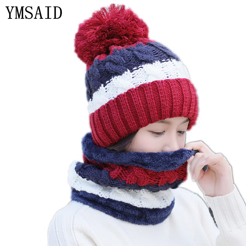 Girl Warm Ski Hat Brand Big Fur Pompoms Ball Knitted Hats Scarf Hat Set Winter Women Beanie Hat Thick Skullies Female Cap
