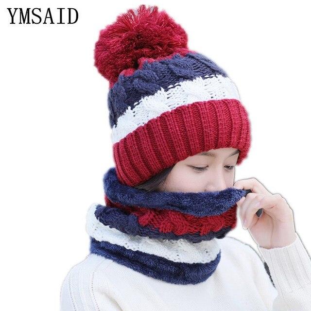 Girl Warm Ski Hat Brand Big Fur Pompoms ball Knitted hats scarf hat set  Winter Women Beanie Hat Thick Skullies Female Cap 6c0286dbf