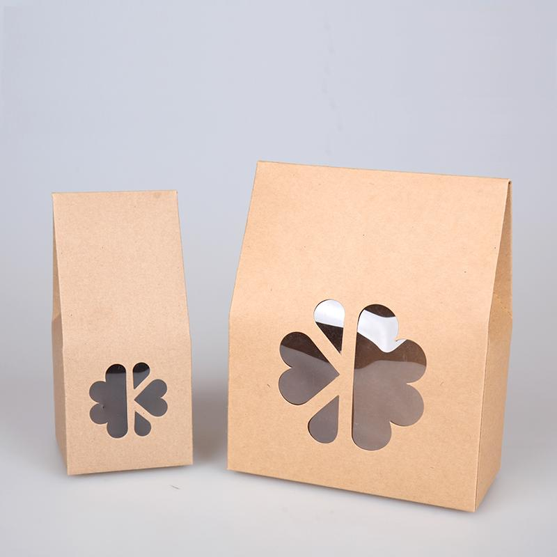 20pcs/lot- <font><b>big</b></font> small size Stand up kraft paper <font><b>gift</b></font> <font><b>box</b></font> with clear window Cookies Candy storage <font><b>box</b></font> DIY Baking <font><b>packaging</b></font> image