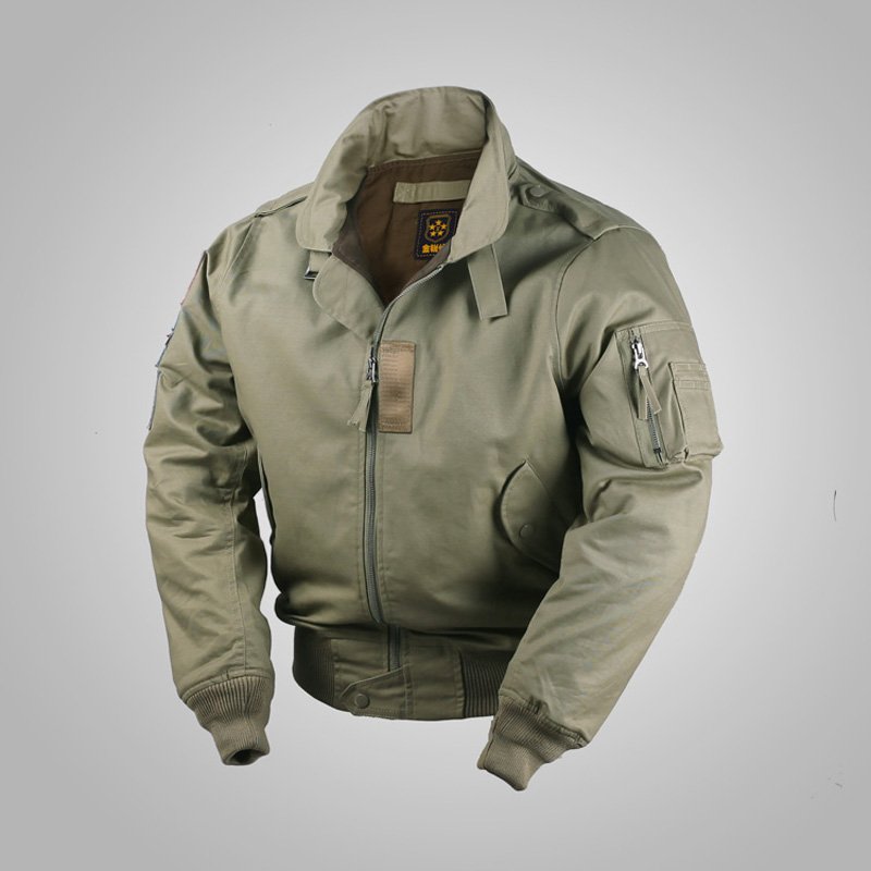 Retro Quilted Cotton Flight <font><b>Jacket</b></font> USAF Vintage <font><b>Style</b></font> <font><b>Winter</b></font> Men's Bomber Coat image
