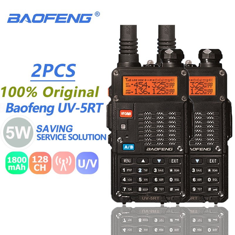2pcs Baofeng UV-5RT Walkie Talkie VHF UHF 2 Way Radio Portable Ham Radio Amateur Hf Transceiver UV-5R Plus Handheld Talki Walki2pcs Baofeng UV-5RT Walkie Talkie VHF UHF 2 Way Radio Portable Ham Radio Amateur Hf Transceiver UV-5R Plus Handheld Talki Walki
