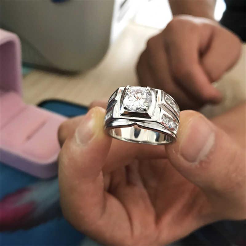 Gửi Giấy Chứng Nhận! Người đàn ông Món Quà Đính Hôn Nhẫn Gốc 925 Rắn Bạc Nhẫn 8 MM Cubic Zirconia Đám Cưới Lớn Nhẫn cho Nam Giới CRJZ004