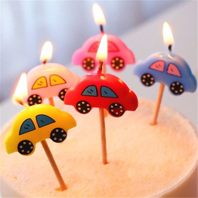 Happy Birthday Candles Toothpick Cake Candles Party Decor Cute Car
