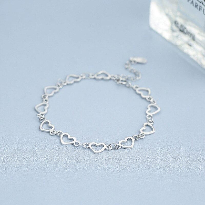 L & P nouvelle mode 925 Bracelet en argent Sterling pour les femmes avec 11 pièces véritable 925 argent coeur bracelets porte-bonheur bijoux de fête