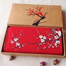 2016 mode femmes dames à main levée tissu à la main Wintersweet rouge longue fermeture éclair portefeuille carte détenteur de monnaie bourse d'embrayage portefeuilles cadeau