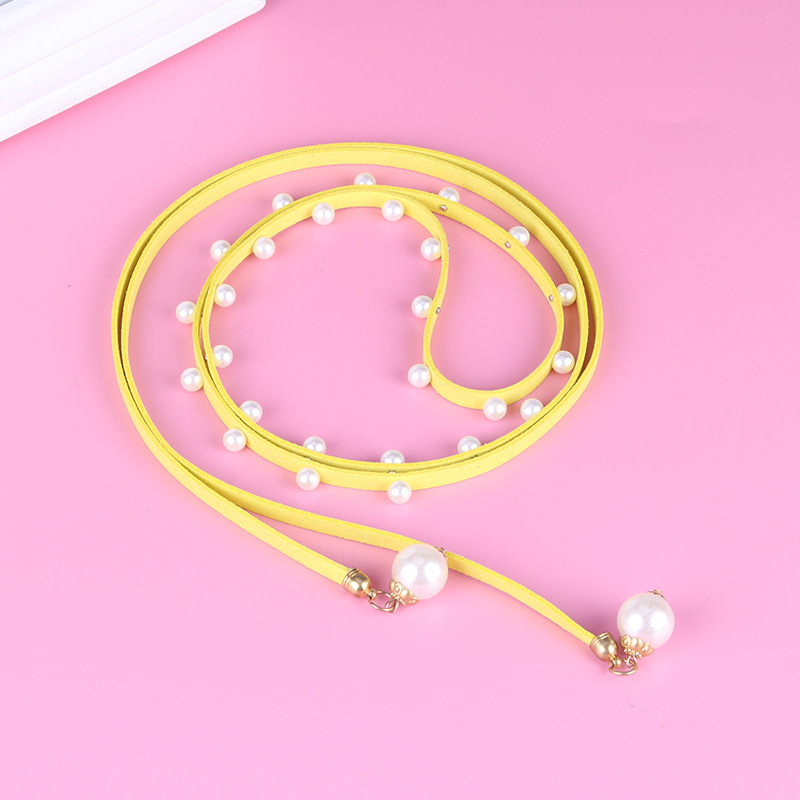 Fashion Belt Imitation Leather With Pearls Knitted Belts For Women Elastic Simple Elegant Belt For Women Gifts(China)