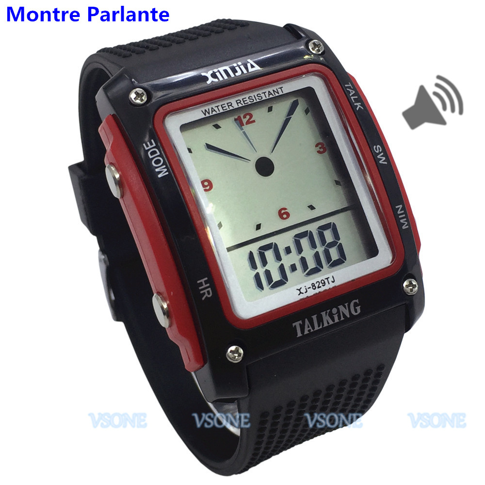 French Talking Watch For The Blind And Low Vision Or Elderly With Black/Red Color 829TF-R