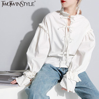 TWOTWINSTYLE Lace Up Ruffles Lantern Sleeve White Women S Blouses Shirt Stand Collar Big Size Stringy