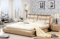 High quality factory price royal large king size Genuine leather soft bed bedroom furniture soft bed 2640