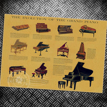 Envío gratis Música piano Vintage póster Retro pintura sala de estar dormitorio papel pintado impreso aplique Café Bar nostálgico foto 42x30 cm