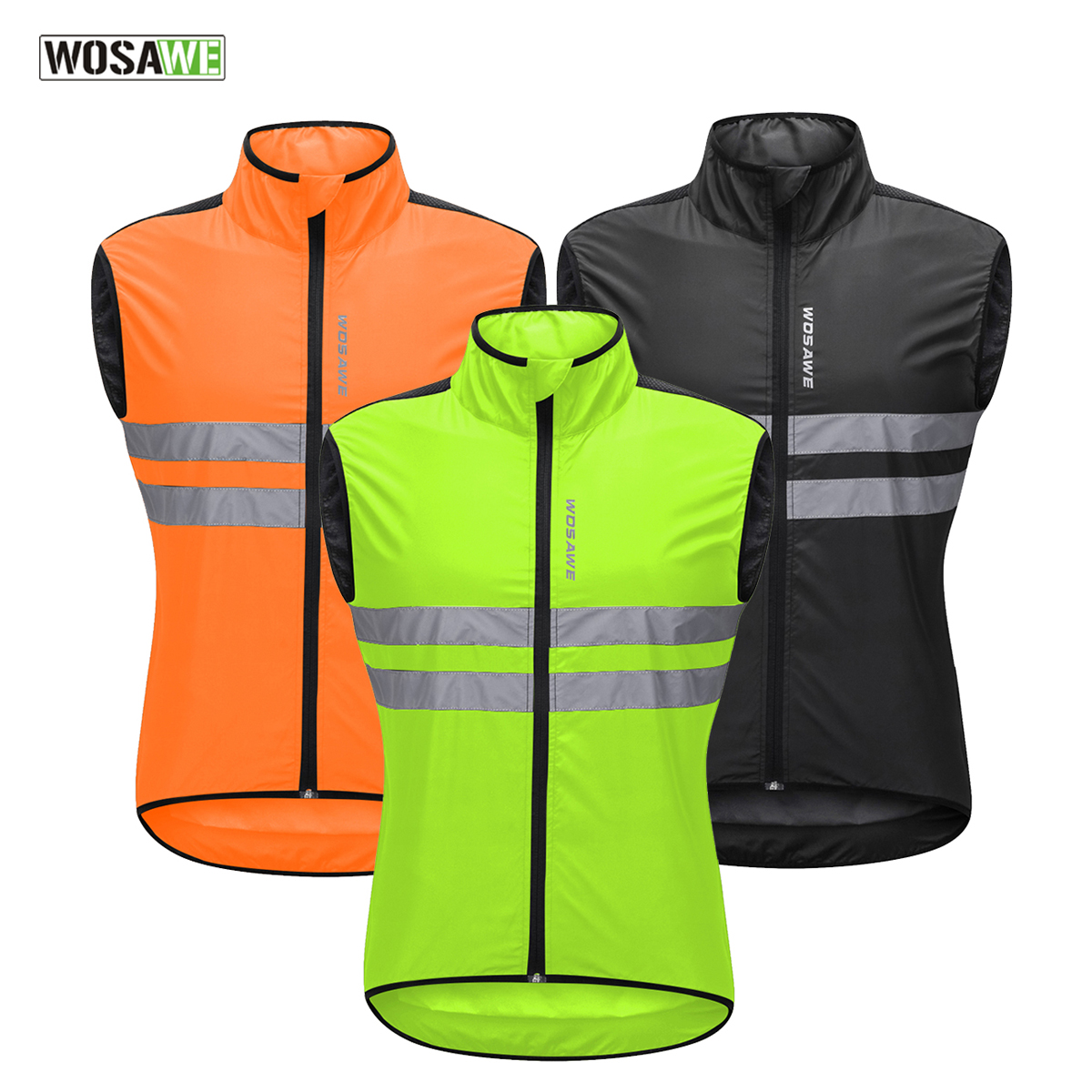 WOSAWE Cycling Vest High Visibility Reflective Safety Vest Night Running Riding Motorcycle Jacket Waistcoat Green /size M-3XL plywood