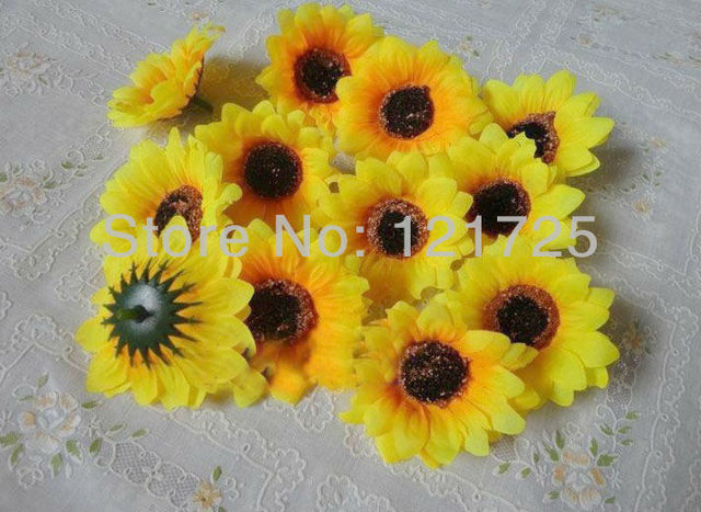 DIY artificial sunflower Flower Heads wedding flower hair decorative 6CM