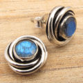 LABRADORITE Gems Small Studs Earrings  Silver Plated ! Gift Store For Love
