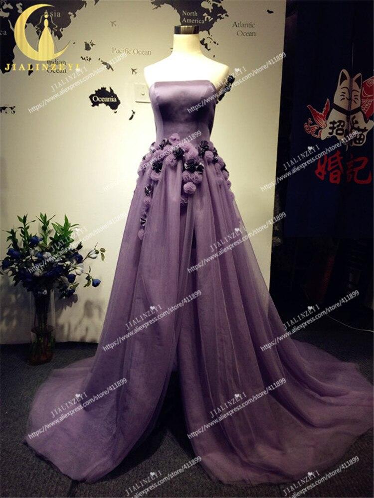 Рейн Реальный образец изображения атласа и тюль Ручные цветы разрез суд Trian Вечерние платья