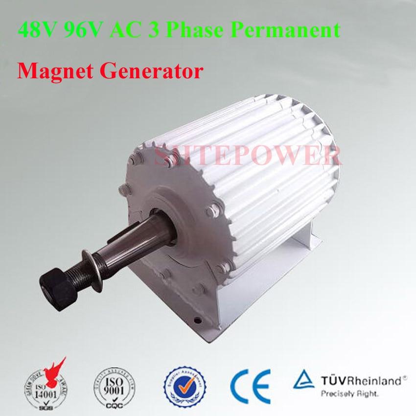 Puissance nominale 2000 W max 2200 W triphasé AC 48 V/96 V générateur de vent générateur syncjronique pour moulin à vent Vertical ou Horizontal