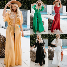 Bikini Cover  Beach Maxi Boho Bohemia Dress Long Crochet Lace Stitching Chiffon Flower Robe ouc035A