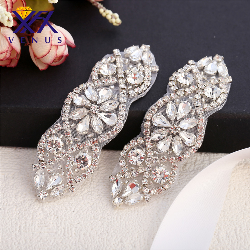 XINFANGXIU Handmade gold rhinestone appliques sewing hot fix crystal pieces  strass crystal bridal headpieces DIY garment-in Rhinestones from Home    Garden ... 03b78c879d35