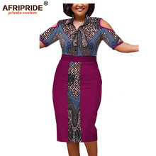 2019 spring&summer africa skirt set for women AFRIPRIDE half sleeve single breasted top+mid-calf length A1826029