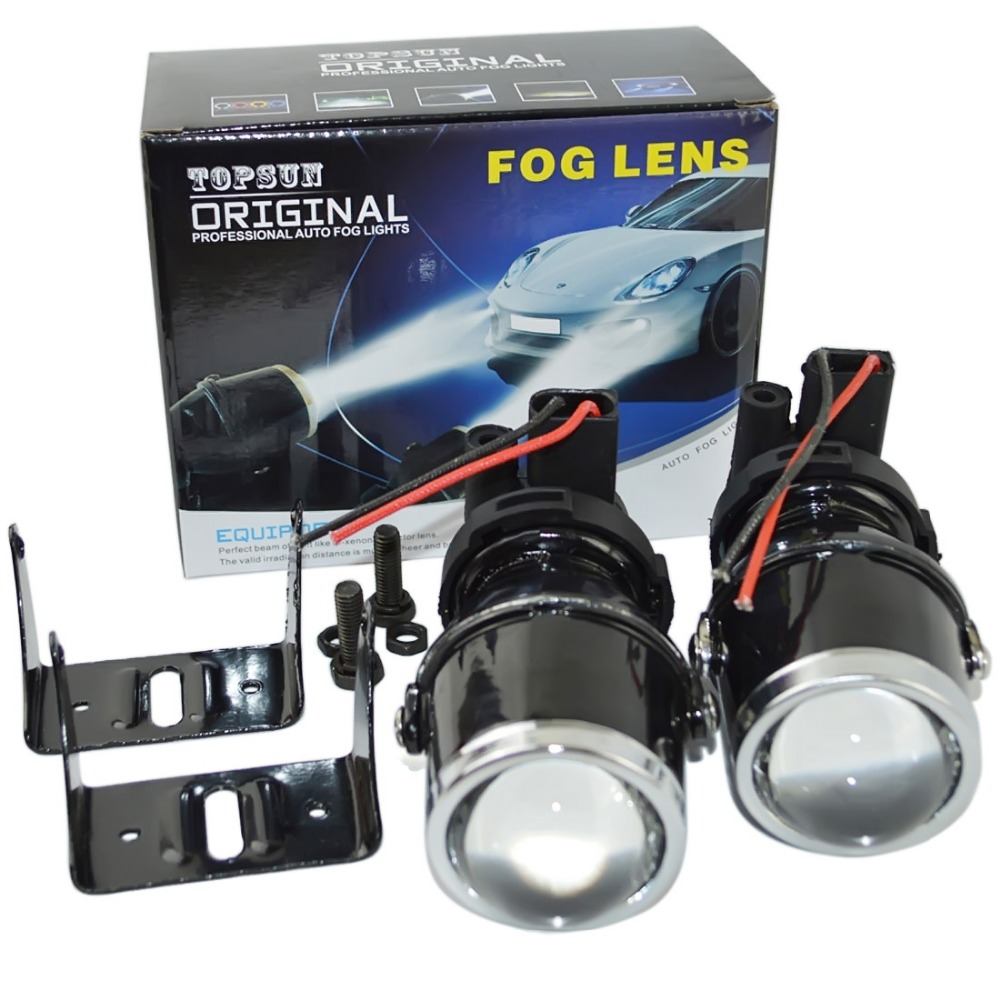 metal car headLight projector Fog light lens 12V fog light projector lens clear glass halogen lens 4300k H3 halogen bulbs 55W