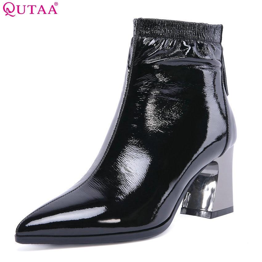 QUTAA 2019 Winter Shoes High Quality Fashion Women Ankle Boots Platform Square High Heel Zipper Ladies Boots Big Size 34-43 цена