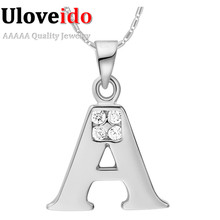 Letter A B C D E F G H I J K L M N O P Q I S T U V W X Y Z Silver Plated Pendant Necklace Chain Crystal Valentine's Day Gifts