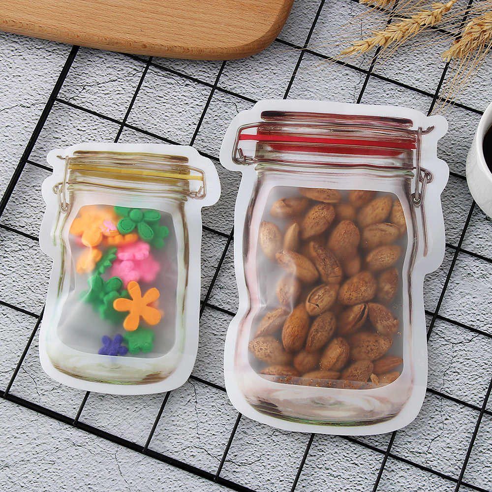 5Pcs/lot Kitchen Travel Food Snack Candy Storage Zipper Bag Portable Mason Jar Shape Food Zipper Sealed Storage Bag