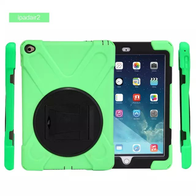 HDW-IP6 Shockproof Protector Sillcone Rubber PC Armor Case Stand Cover For Apple ipad air 2 9.7Tablet