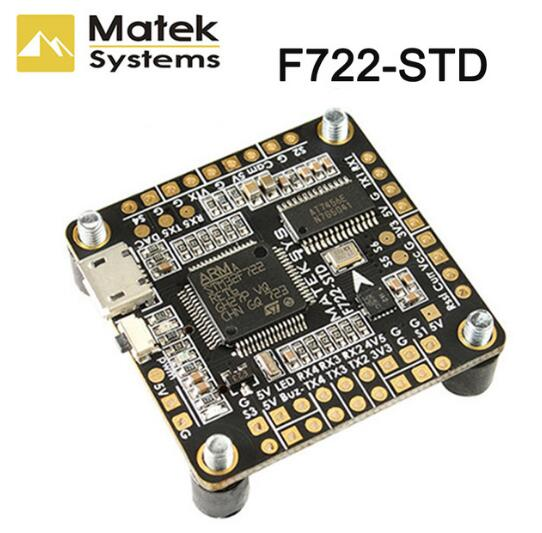 Matek Systems F722-STD F7 Flight Controller features STM32F722RE, <font><b>ICM20602</b></font>, BMP280,BFOSD, Blackbox Micro SD Card Slot DShot ESC image