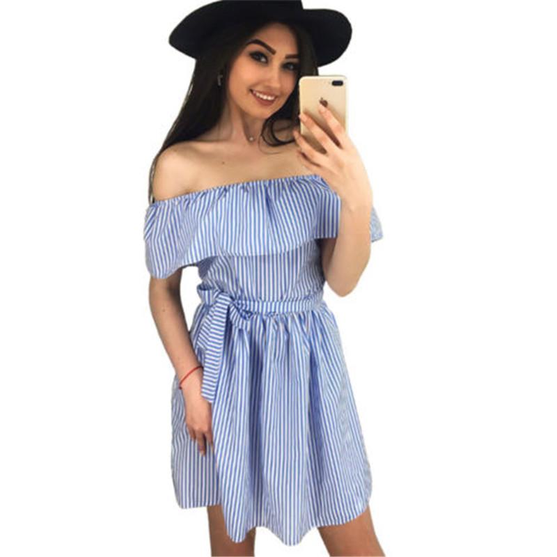 ropa de mujer con estilo ocasional hombro desactivado stirped algodn sin mangas del verano de boho
