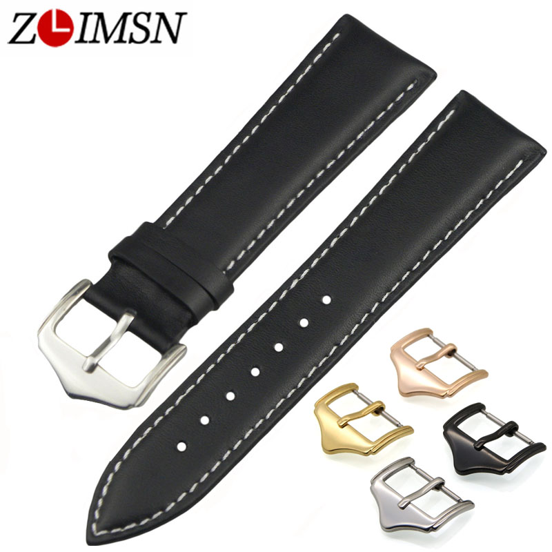 ZLIMSN Soft Smooth Genuine Leather Men Watch Strap Replacement Black Brown 18mm 20mm 22mm 24mm Watchband Stainless Steel Buckle цена