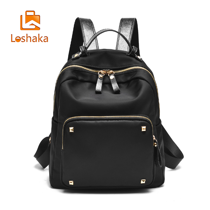 Loshaka Casual School Backpack For Teenage Girls Female Bags Solid Design Women Back pack A&W New Arrival Backpacks For Ladies