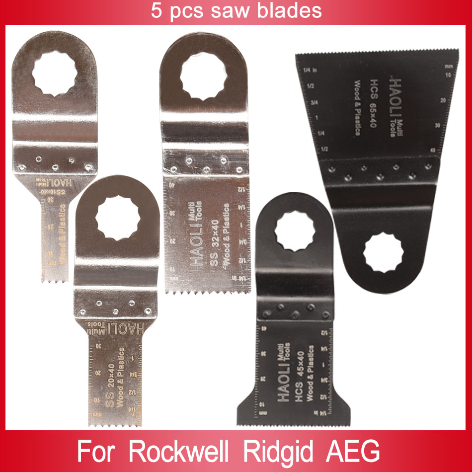 5 pcs stainless steel and HCS oscillating muti tool saw blades for power tools as RidgidWorx SonicrafterAEGWood cutting