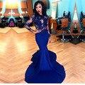 Royal Blue Mermaid Vestido de Fiesta Africana 2017 O-cuello Atractivo Ver A Través de Apliques de Encaje de Manga Larga Stretch Satén Baile Vestidos Largos