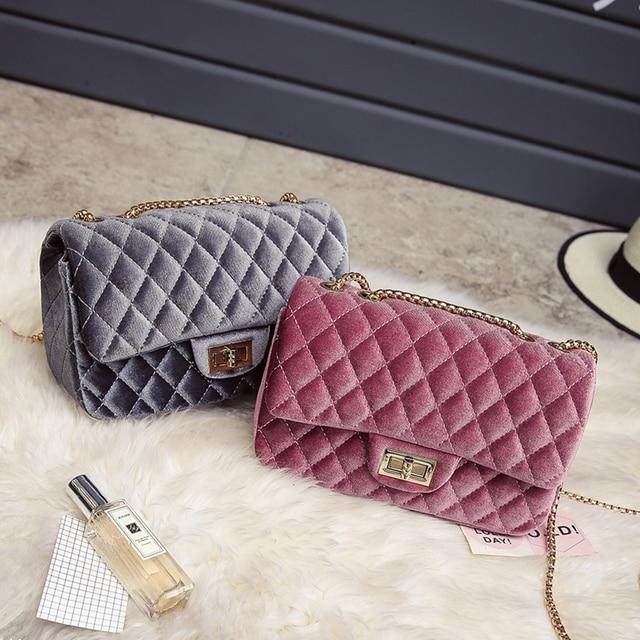 3db0d94309 2016 Fashion Luxury Handbags Women Bags Designer Velvet Shoulder Bag  Crossbody Clutches Bags Famous Brand Female