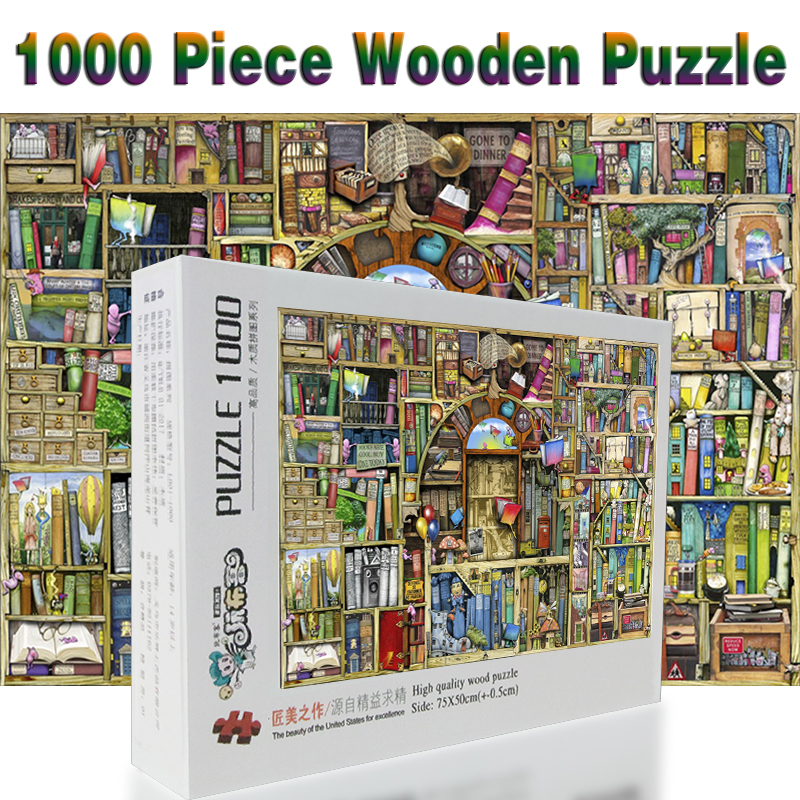 Bookshelf Puzzle 1000 Pieces Adult Wooden Cartoon Jigsaw Puzzles For Children Educational Toys Gifts In From Hobbies On