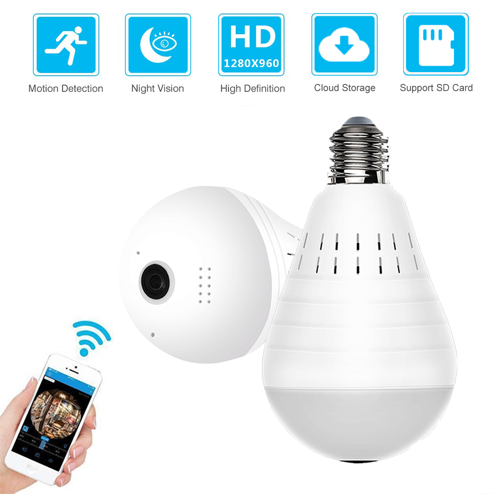ZILNK Panoramic 360 Degree Bulb Light IP Camera Wireless Wifi FishEye Lens 960P HD Lamp Camera Indoor Home Security Cloud